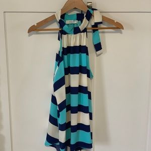 Blue stripe halter with neck tie